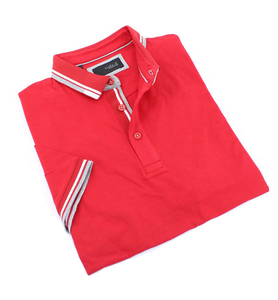 Red Polo With White And Gray Trim #T-7003