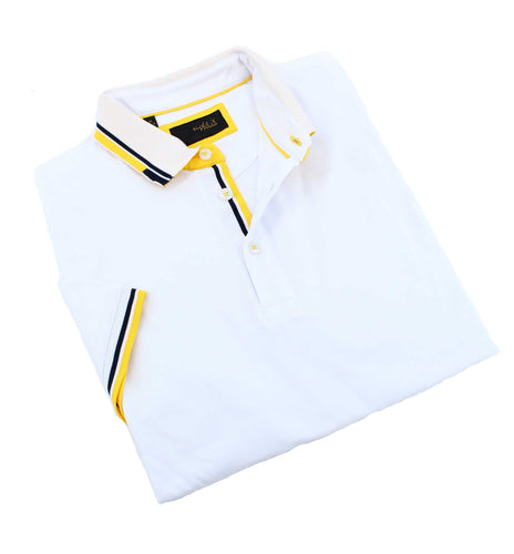 White Polo With Yellow Trim #T-7003