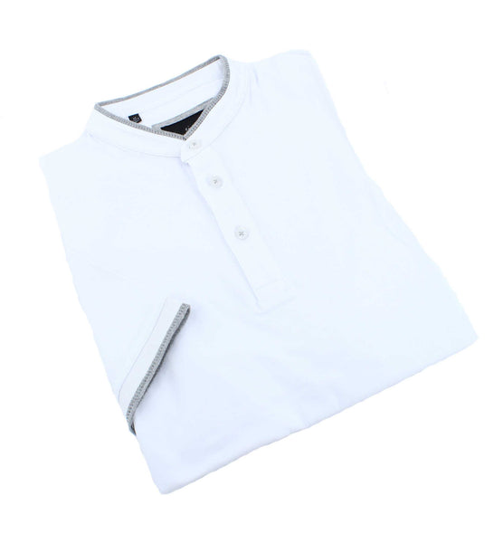 Modern Henley In White #T-7004