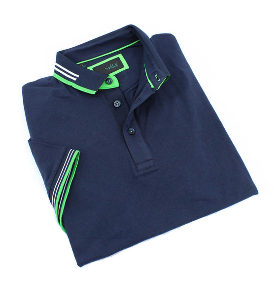Navy Polo WIth White And Green Trim #T-7005