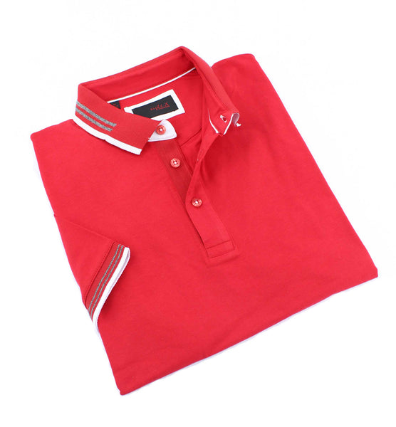 Red Polo With White And Gray Trim #T-7005