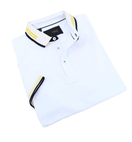 White polo with striped collar; two-button placket; and striped, ribbed armbands.