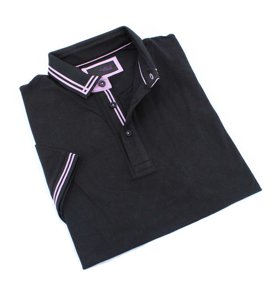 Black Polo With Pink Trim Design #T-7006