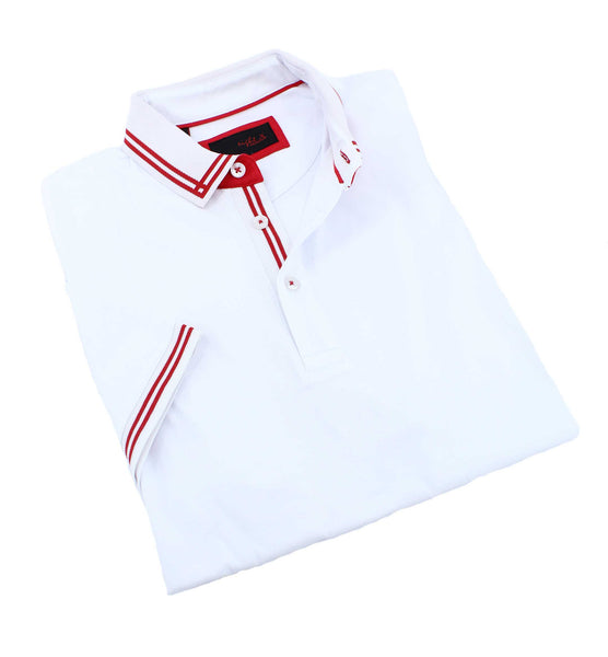 White Polo With Red Trim #T-7006