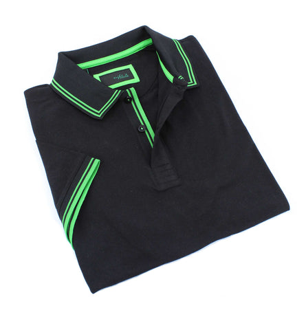 Black Polo With Green Trim Design #T-7007