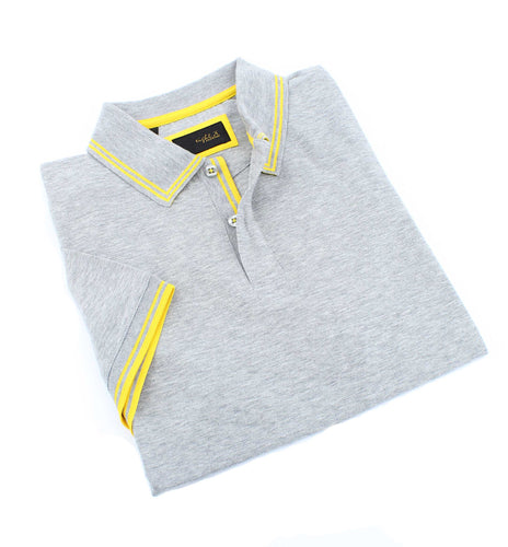 Gray Polo With Yellow Trim Design #T-7007
