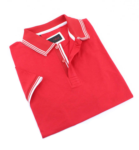 Red Polo With White Trim Design #T-7007