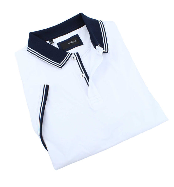 White Polo With Navy Trim Design #T-7007