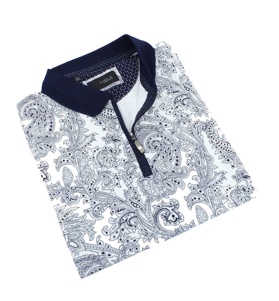White Zip Polo With Paisley Print #T-7008