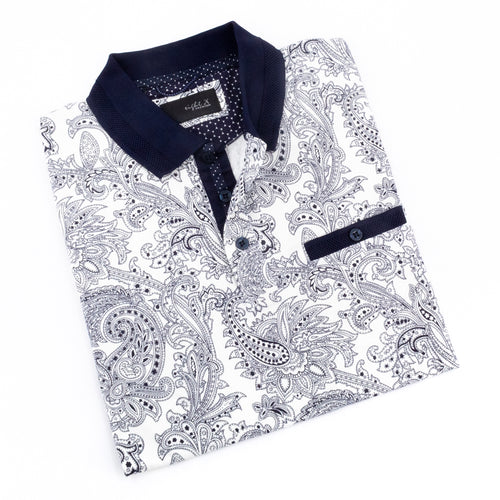 White Polo With Paisley Print And Navy Trim #T-7009