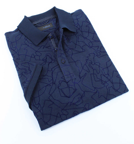 Navy Cracked Design Polo
