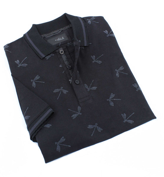 Black Dragonfly Flocking Polo