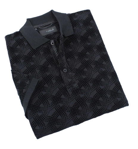 Black Flocking Design Polo