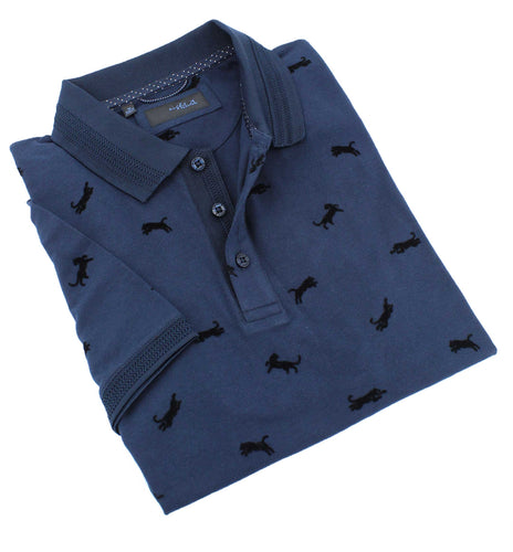Navy Cheetah Flocking Polo