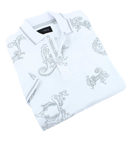White Paisley Flocking Polo