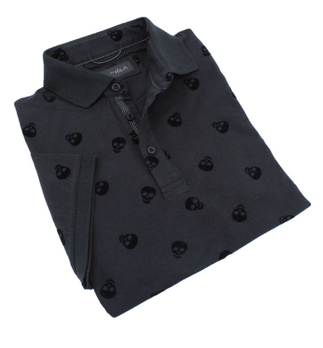Black Skull Flocking Polo