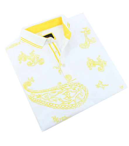 Yellow Paisley Flocking Polo