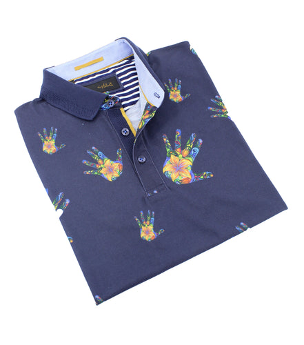 Colorful Floral Palm Print Polo