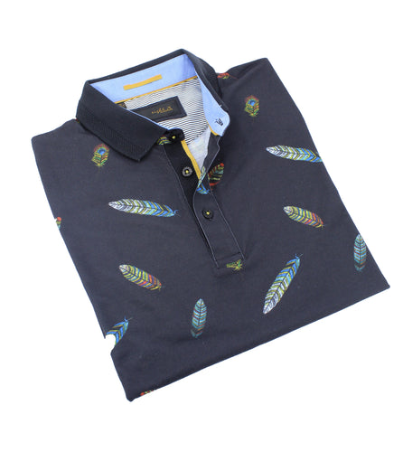 Multi Color Feather Print Polo