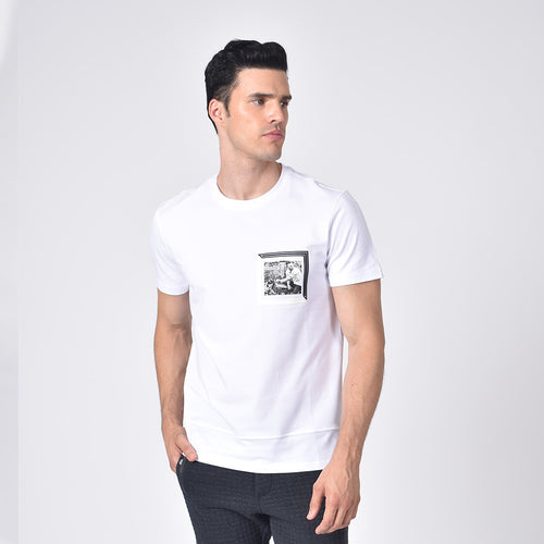 Model in white, short-sleeve cotton crew-neck with black and white chest-patch of biker.