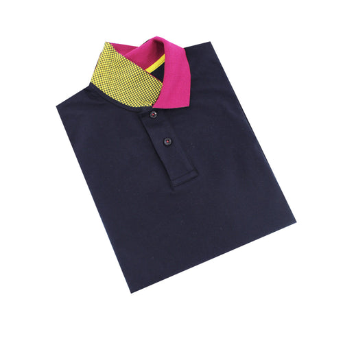 Navy Polo with Double Sided Fuchsia and Yellow Grid Print Collar