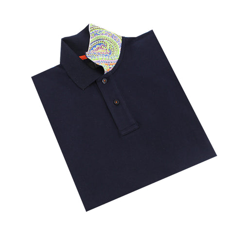 Navy Polo with Double Sided Multi colored Paisley Print Collar