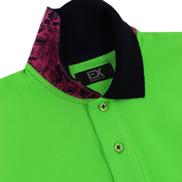 Green Polo with Double Sided Navy and Fuchsia Paisley Print Collar