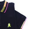 Detail of navy polo's ribbed armbands with blue, pink, and yellow stripes.