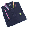 Folded polo with blue, yellow, and pink sets of tri-stripes on collar; striped armbands; two-button placket; and embroidered green frog mascot.