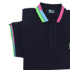 Detail of navy polo's ribbed armbands with blue, green, and pink block stripes.