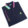 Folded navy polo with blue, green, and pink block-striped collar; striped armbands; two-button placket; and embroidered green frog mascot.