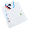 Folded white polo with blue, peach, and navy block-striped collar; striped armbands; two-button placket; and embroidered green frog mascot.
