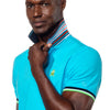 Model wearing bright blue polo with flipped, striped collar.