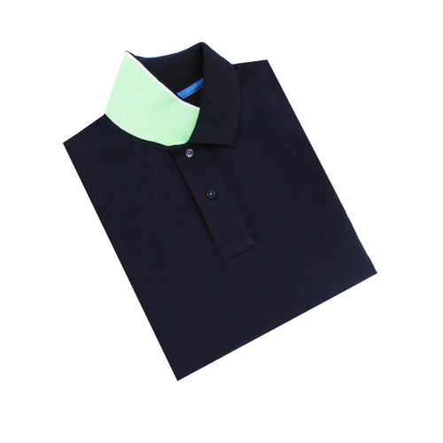 Navy Polo with Double Sided Collar with Green and White Ribbed Texture
