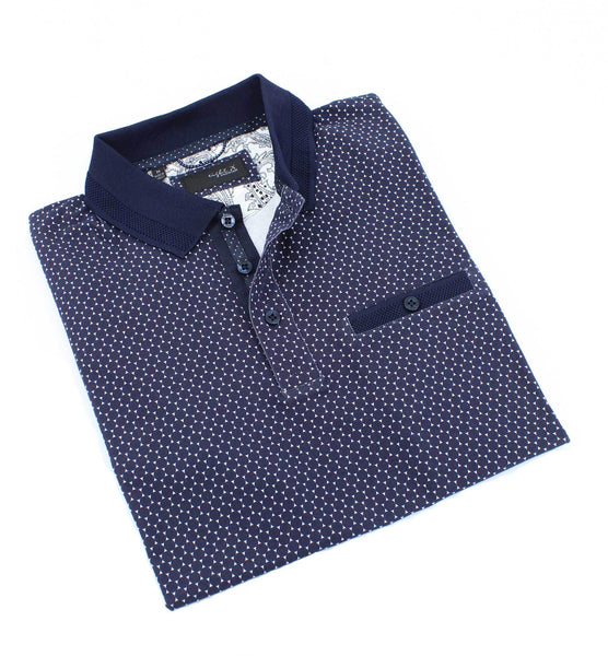 Navy Design Polo With Solid Trim #T-7009
