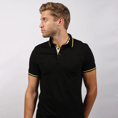 Black Polo Shirt With Trim #T-6003