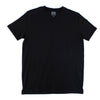 Flat lay of black, short-sleeve cotton v-neck.