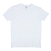 Flat lay of white, short-sleeve cotton v-neck.