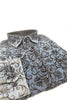 Denim Shirt With Floral Flocking