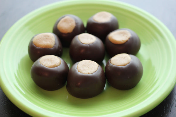 Dark Chocolate Buckeyes - Handmade Chocolate Peanut Butter Crunch Candy