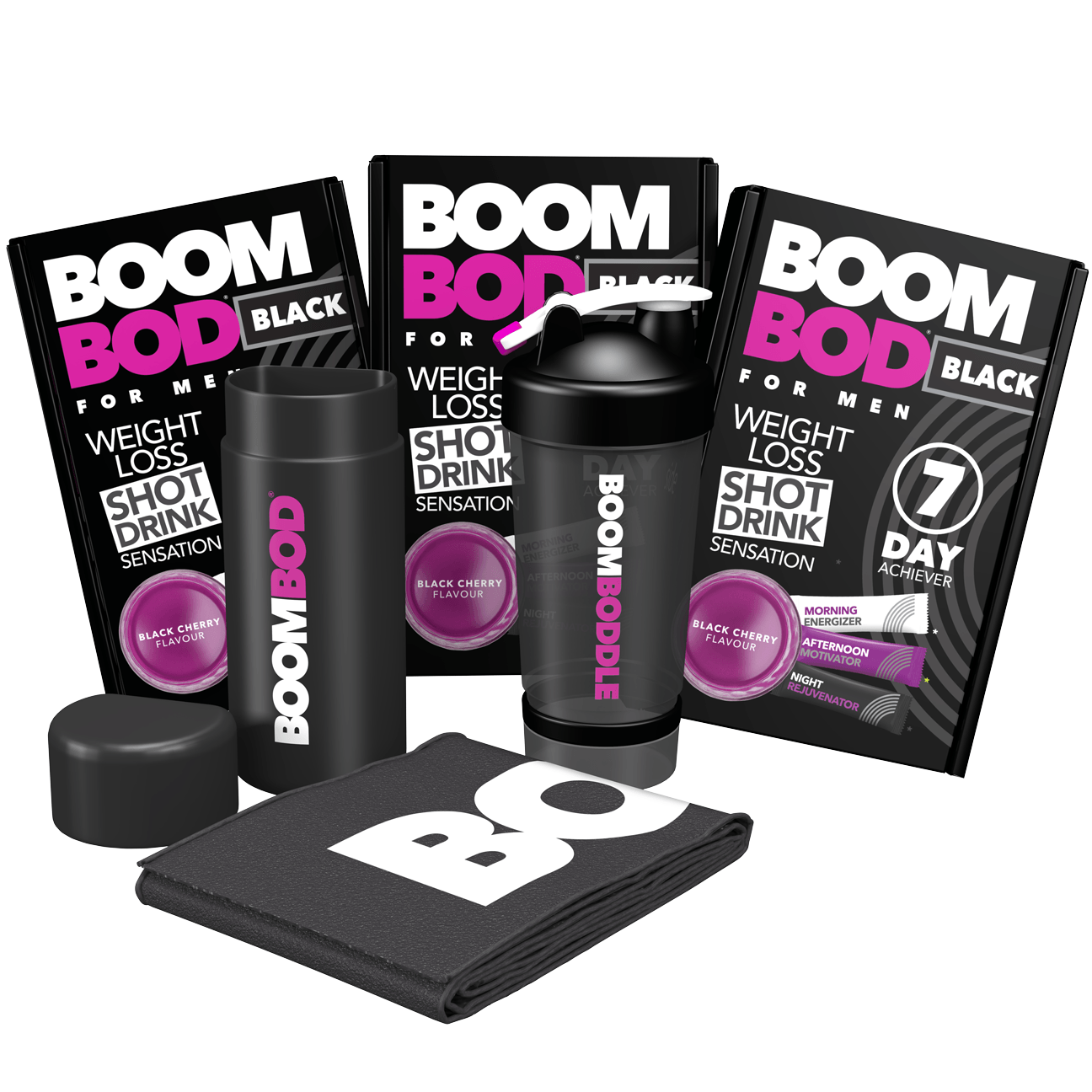 Boombundle | 3 X 7 Day Achiever Men's | Black Workout Towel | Black 20oz Shaker Bottle | Black Cherry