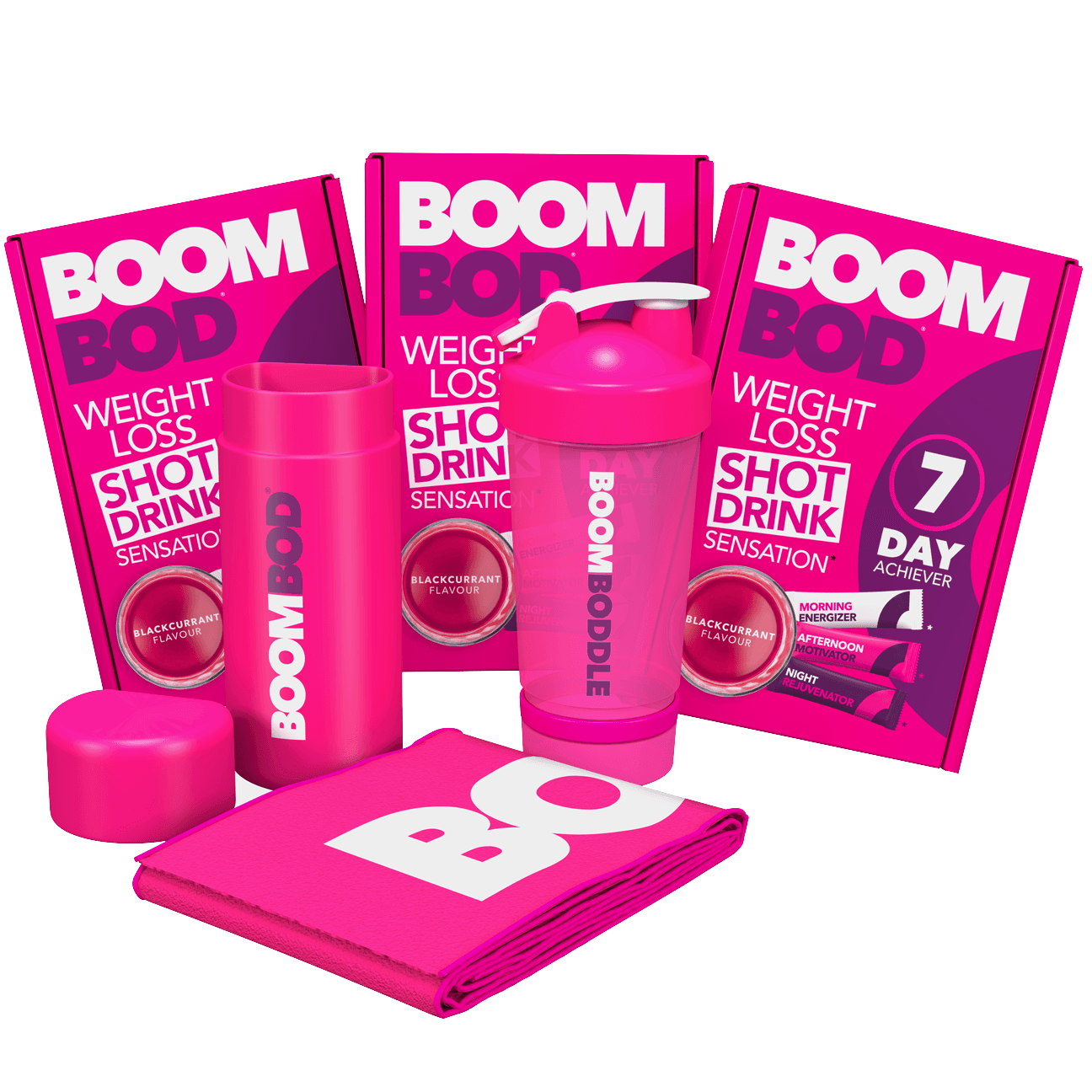 Boombundle | 3 X 7 Day Achiever | Pink Workout Towel | Pink 20oz Shaker Bottle | Blackcurrant