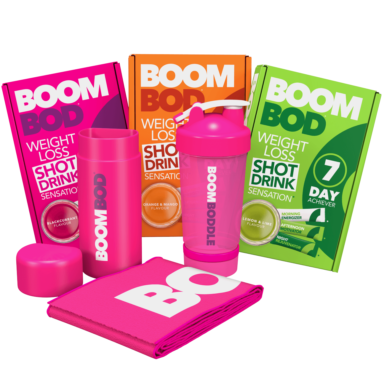 Boombundle | 3 X 7 Day Achiever | Pink Workout Towel | Pink 20oz Shaker Bottle | Blackcurrant, Orange Mango, Lemon Lime