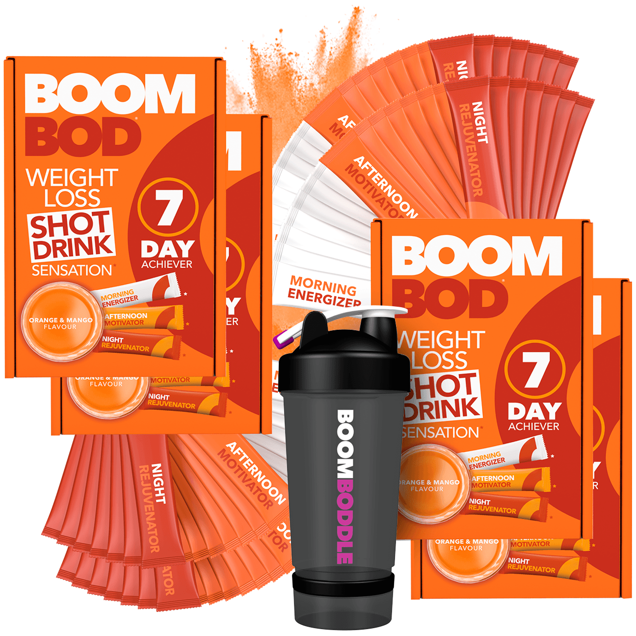 Boombod 28 Day Achiever with 20oz Black Shaker Bottle | Orange Mango | Weight Loss Shot Drink