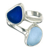 Blue Sea Glass Double Ring