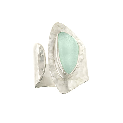 Seafoam Sea Glass Half Moon Ring