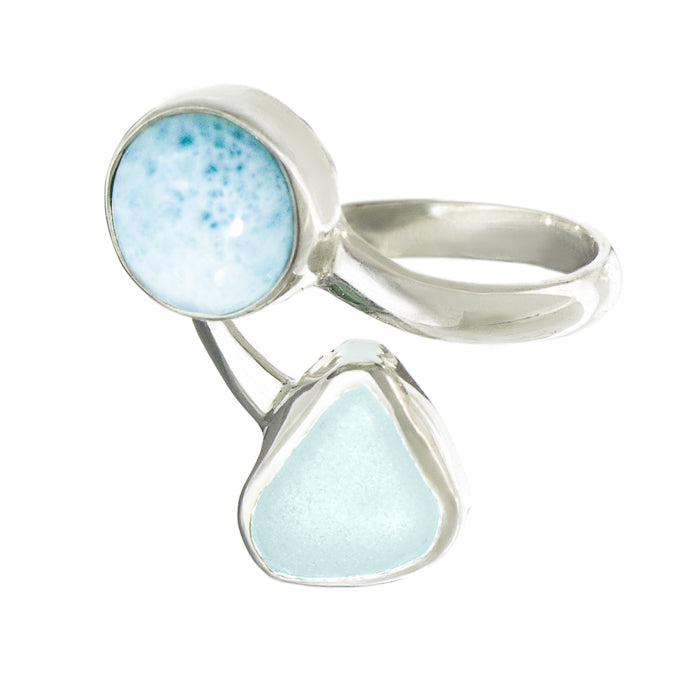 Seafoam Sea Glass & Larimar Ring