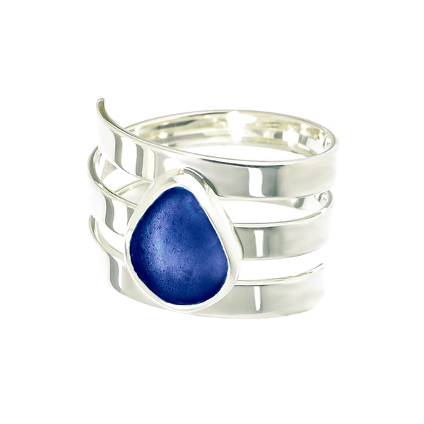 Blue Sea Glass Ring