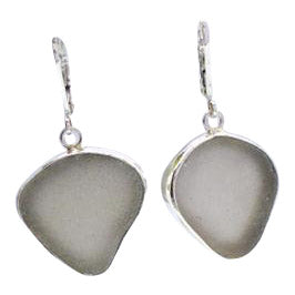 Oceano Grey Sea Glass Drop Earrings