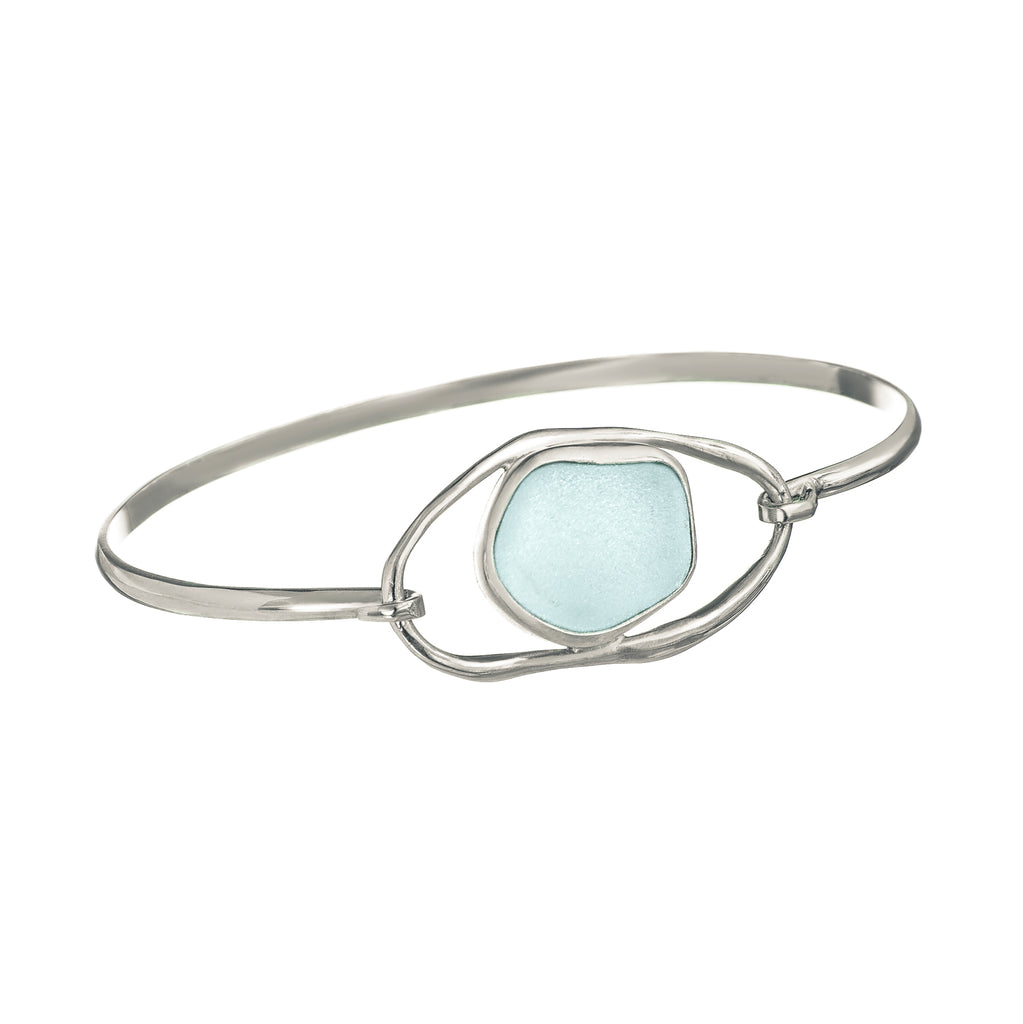 Seafoam Sea Glass Lagoon Bangle Bracelet